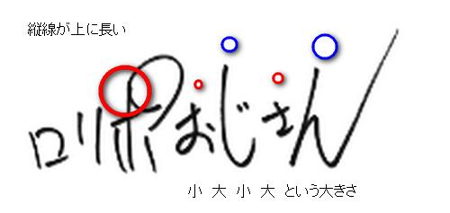 ロリポおじさんの筆跡特徴:大字小字混合型